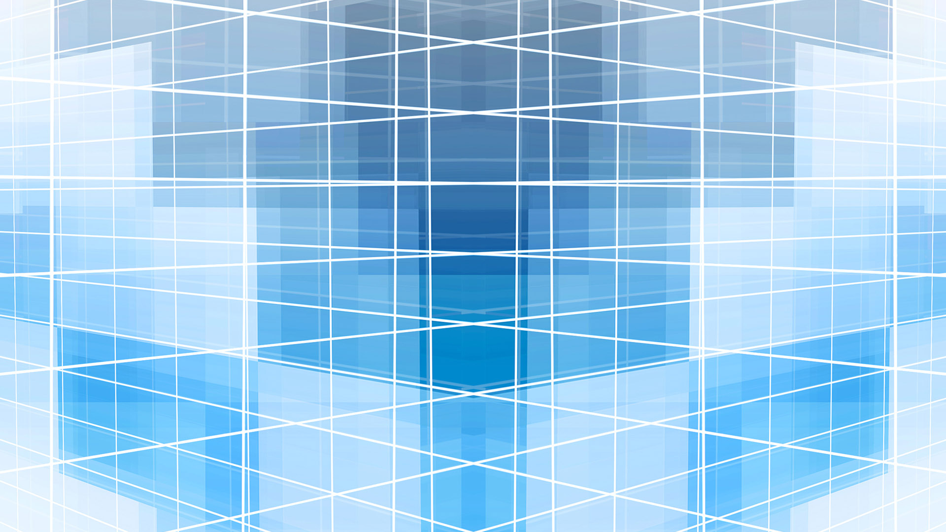 Overlapping white lines in a grid against a blue background.