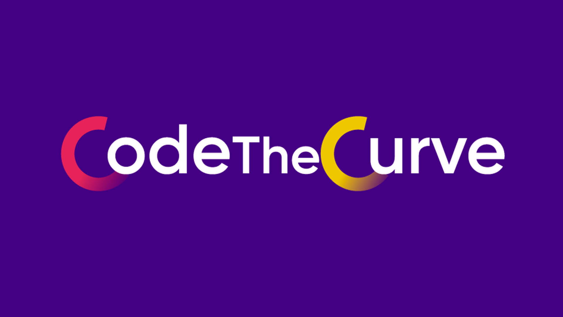 """CodeTheCurve"" against a dark purple background"