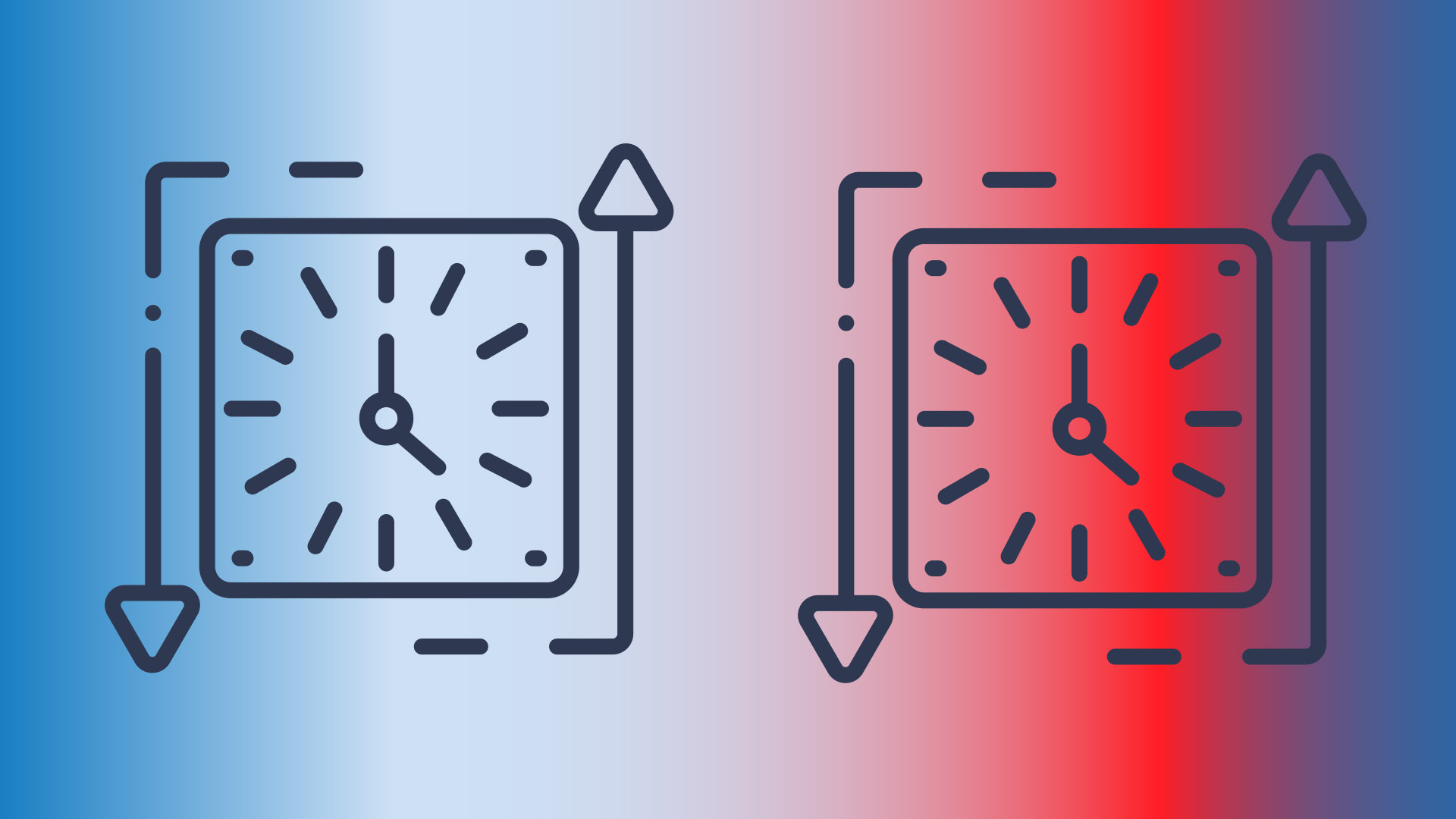 Red and blue gradient with clocks and arrows.