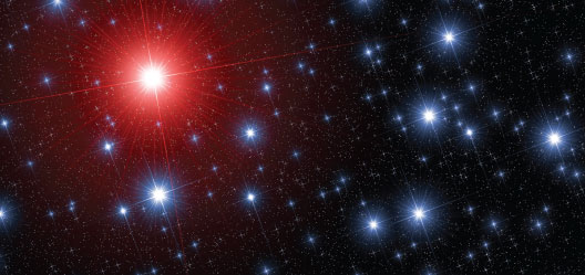 A picture of the night sky, with a huge red star with beams of light going out in the lefthand corner, and various smaller white stars surround it on a black background.