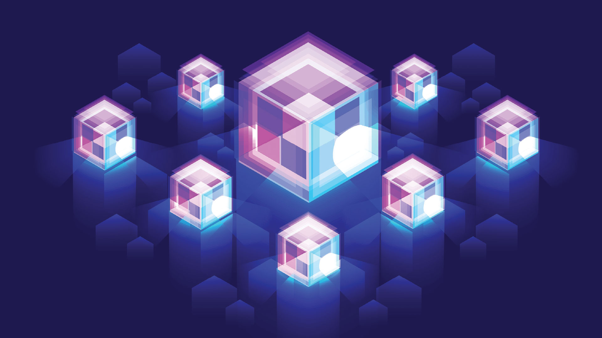 8 purple and blue semitransparent cubes on a blue background.