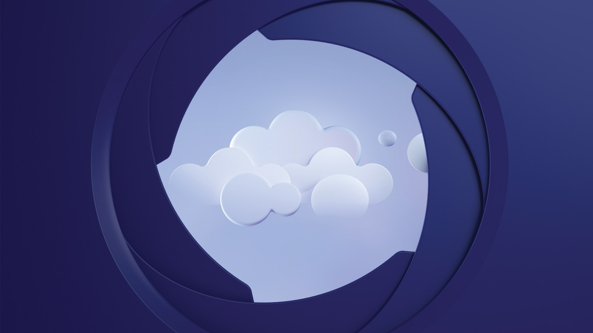 Illustration of a cloud seen through a camera lens