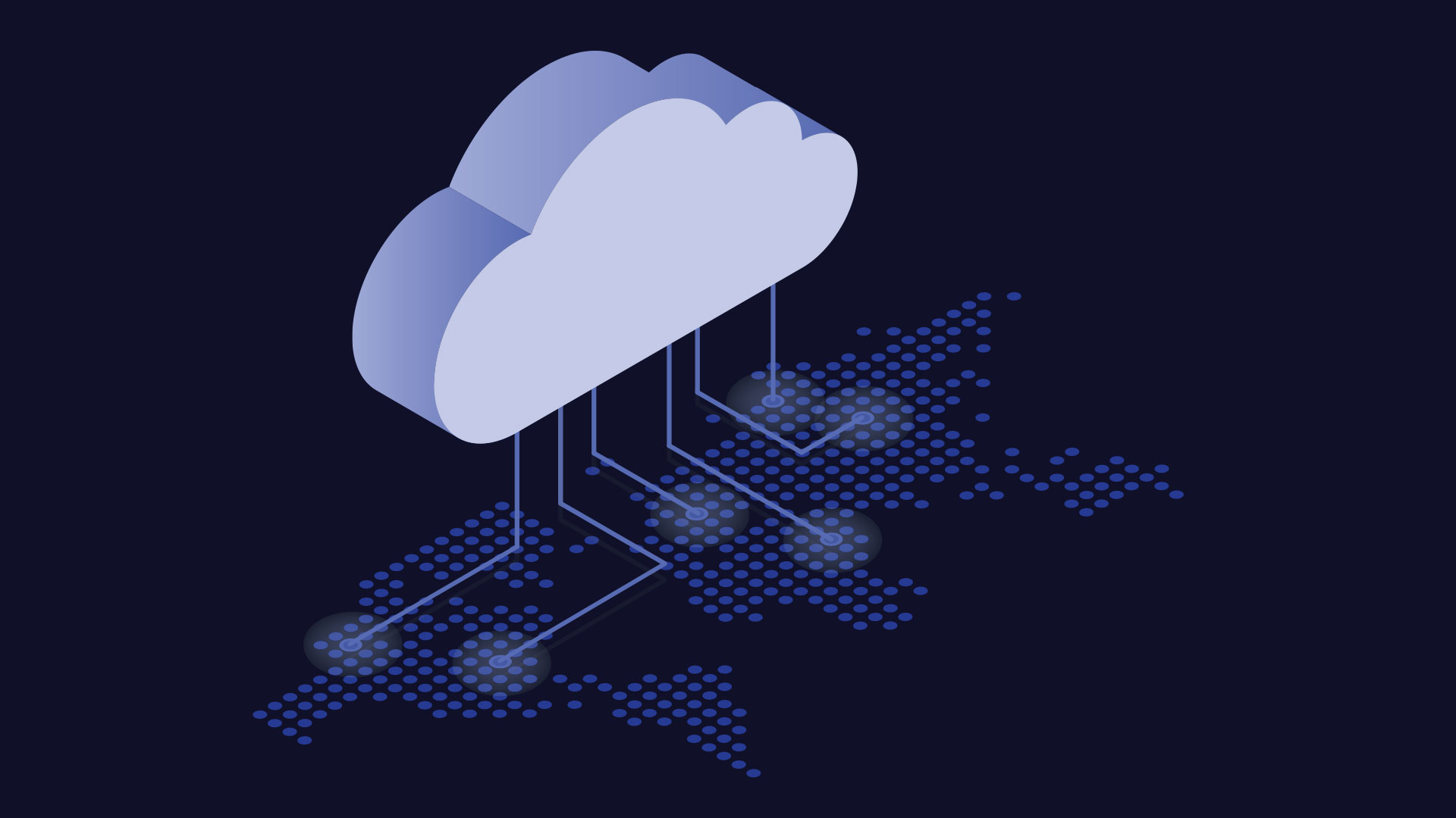 Illustrated white cloud perched on blue technological structure against a black background