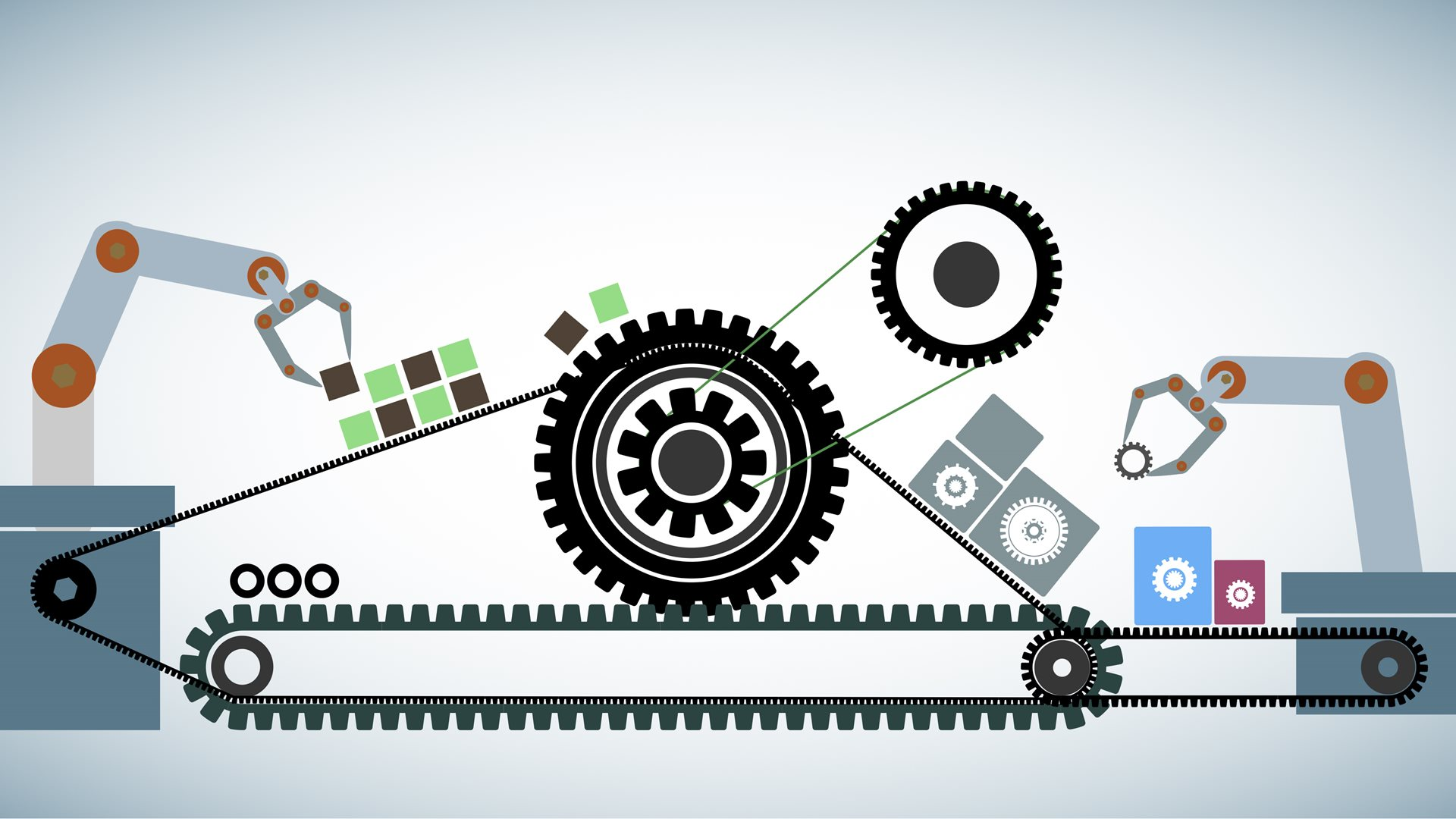 Concept of Agile software development methodology, represents through cogwheels connected with cog belt.