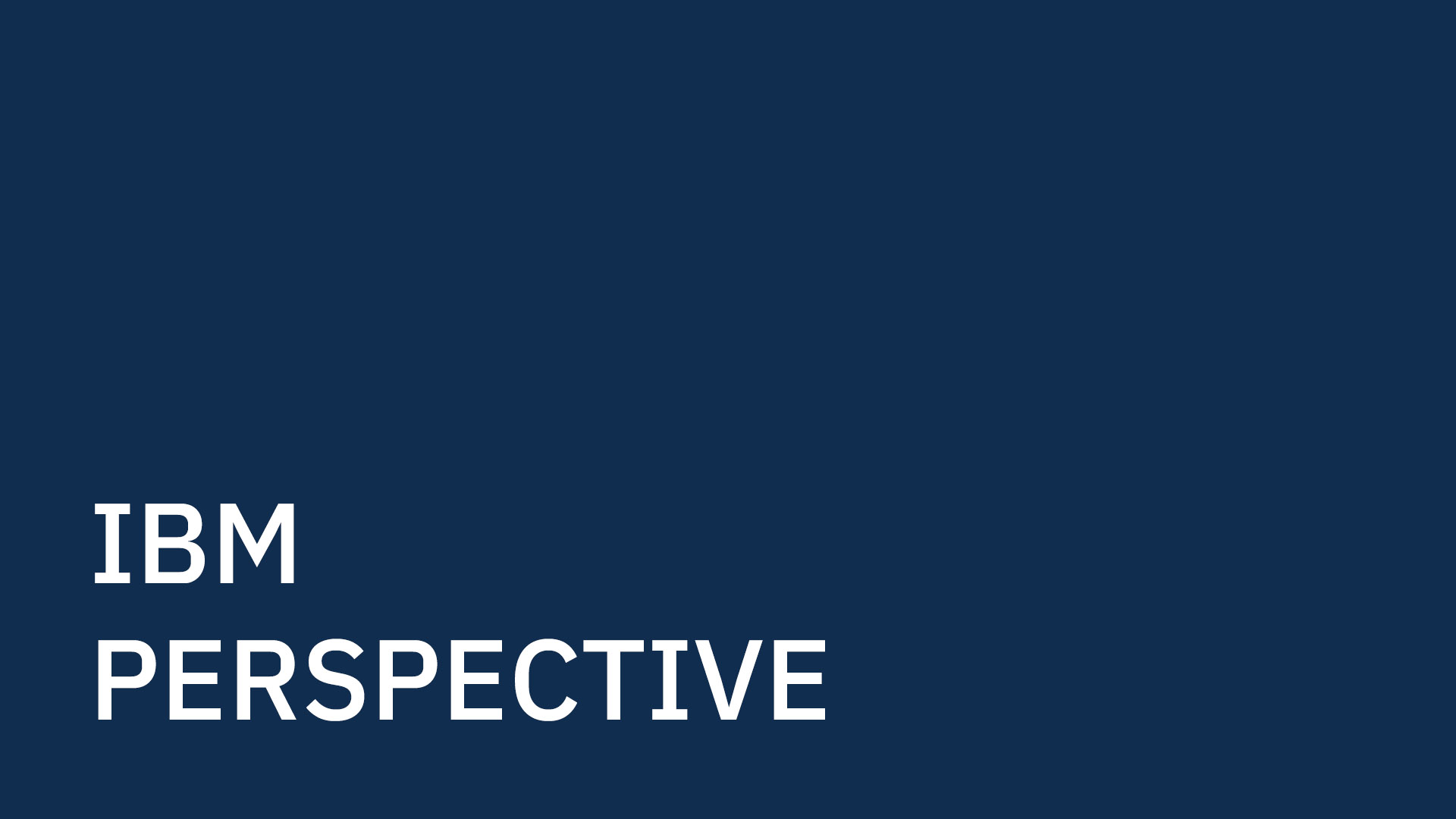 IBM Perspective text in white on navy blue background.