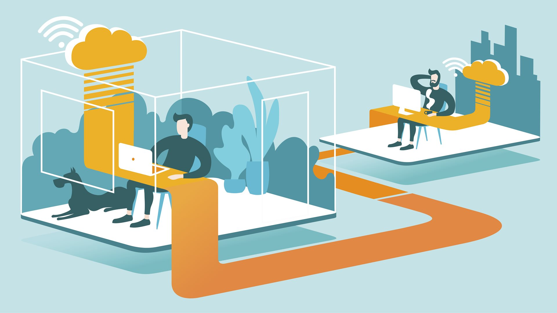 Illustration with one man working remotely and another working in a work setting, with a yellow line indicating the ability to stay connected while working remotely.