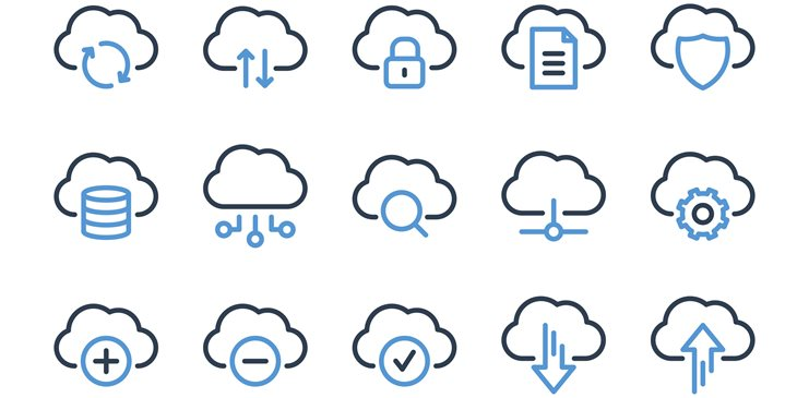 Different animated cloud icons with settings icons within them.