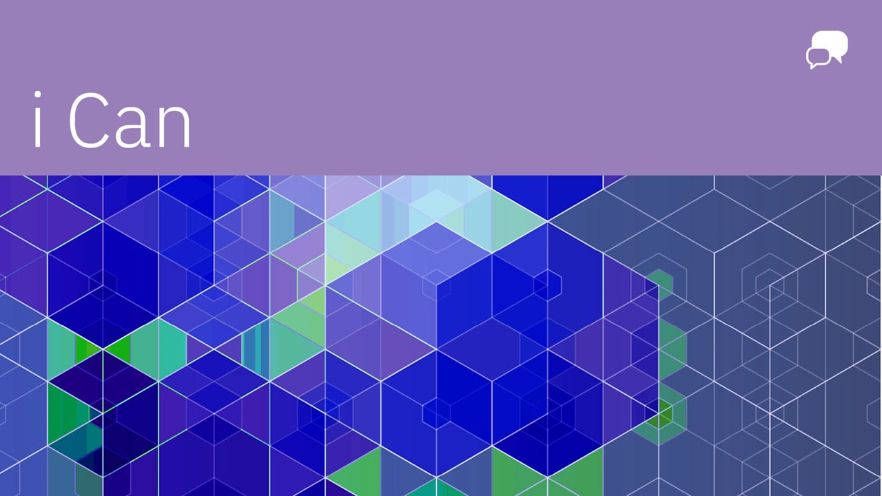 """i Can"" in white against a purple banner with a grid of blue and green shapes"