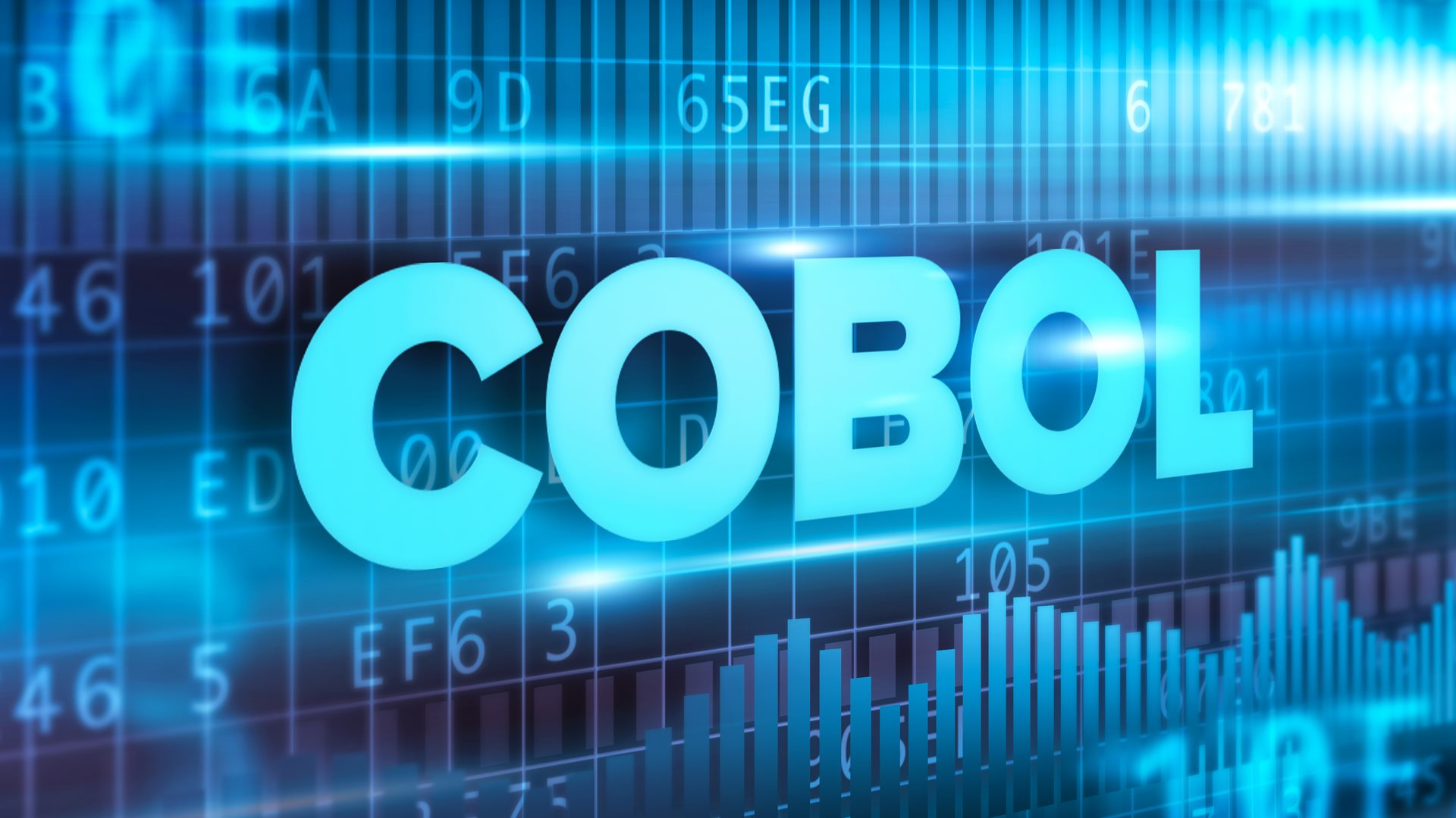 "Blue numbered code with the word ""COBOL"" laid over it."