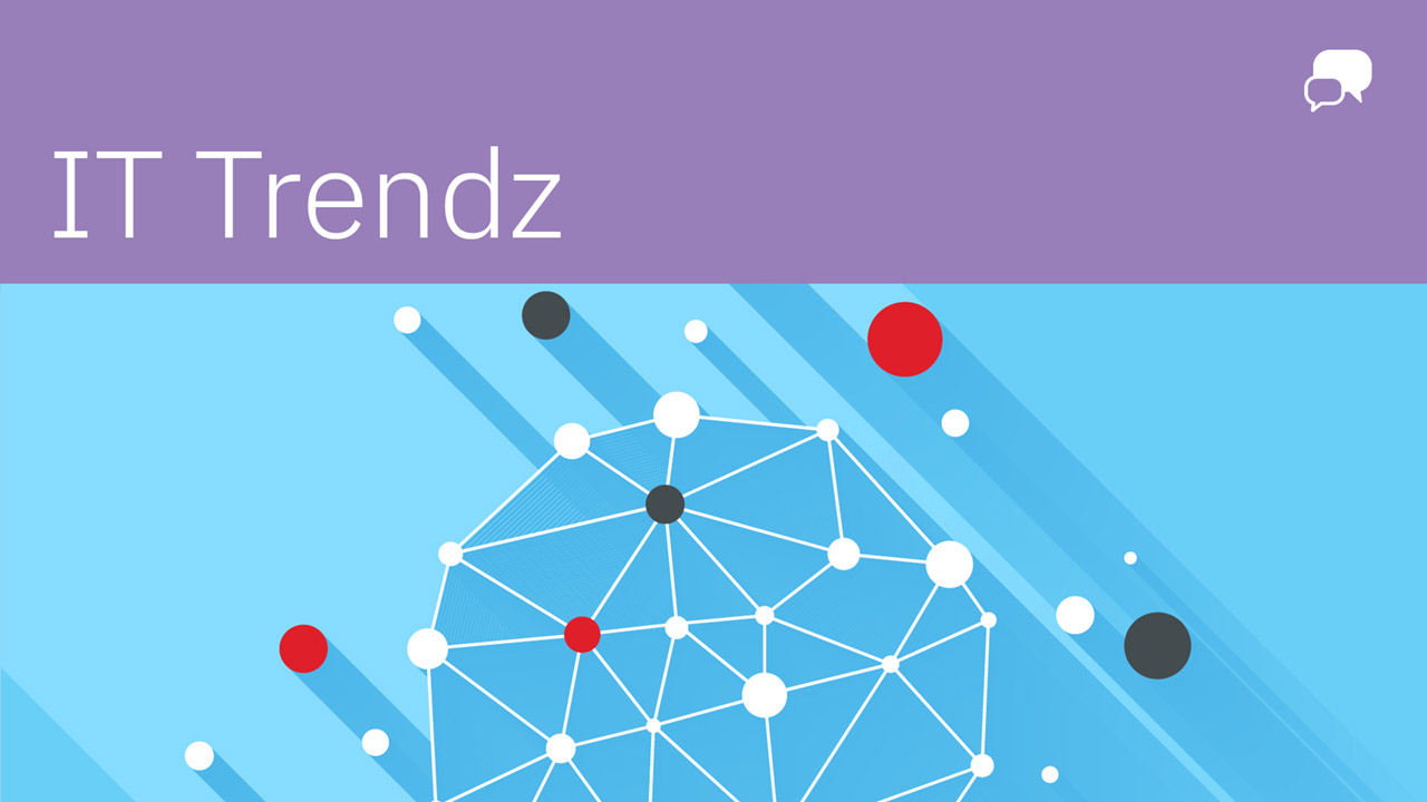 """IT Trendz"" in white against a purple banner, white chat bubble in righthand corner, with dots connected by white lines against a blue background."
