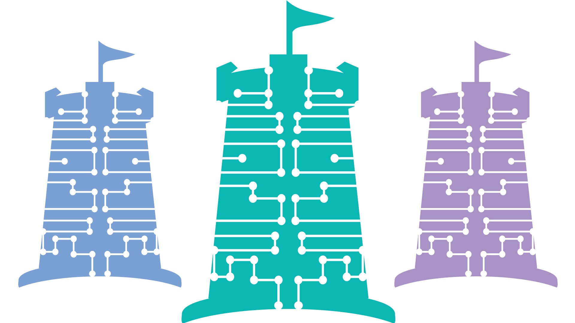 illustration of three towers with flags in blue, teal and purple.