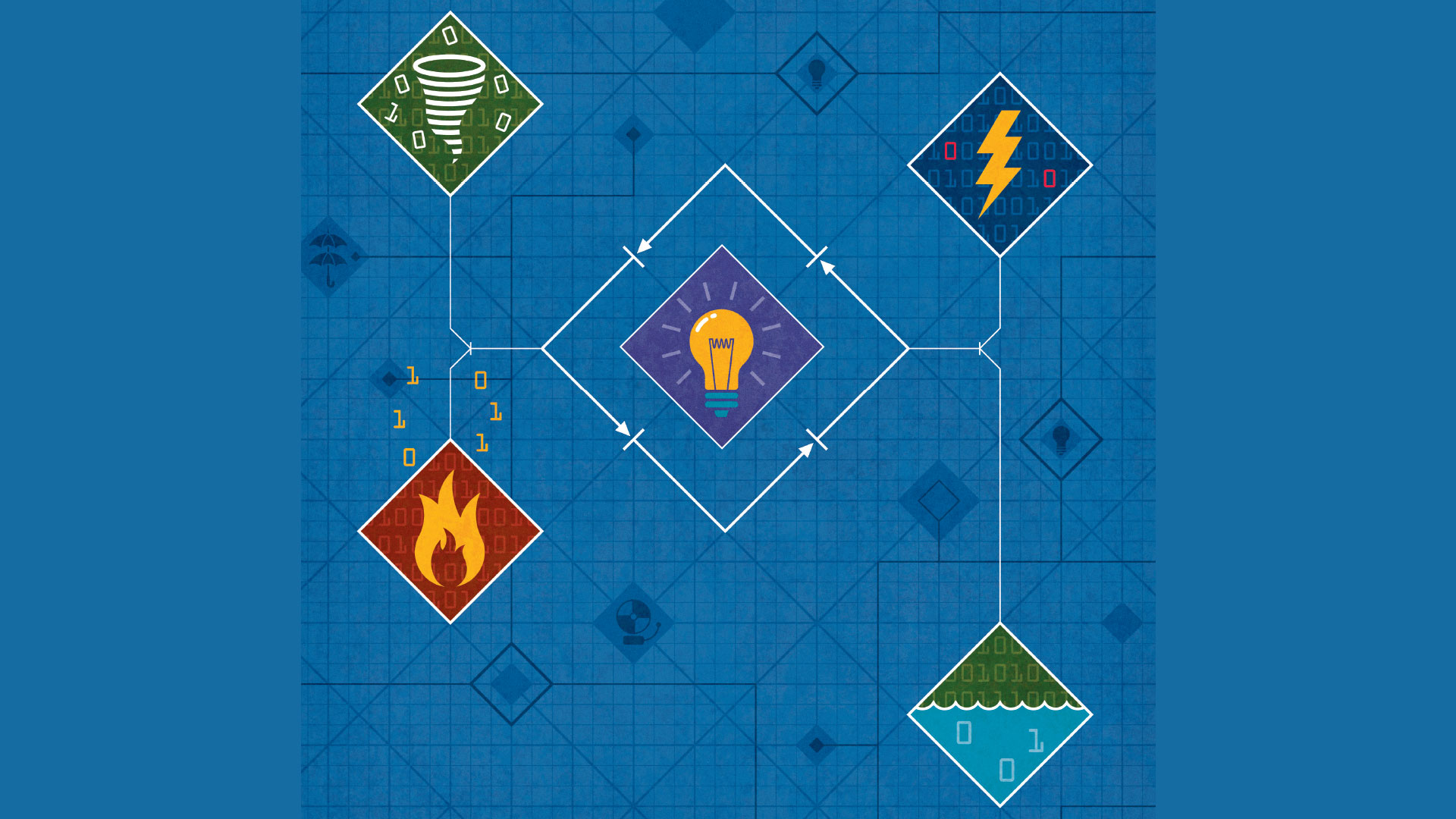 Blueprint-style illustration with four different illustrated disasters: A hurricane, fire, water and lightning