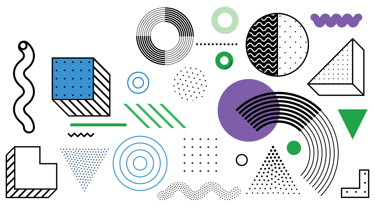 illustration of cubes, triangles and circles in white black blue green and purple.