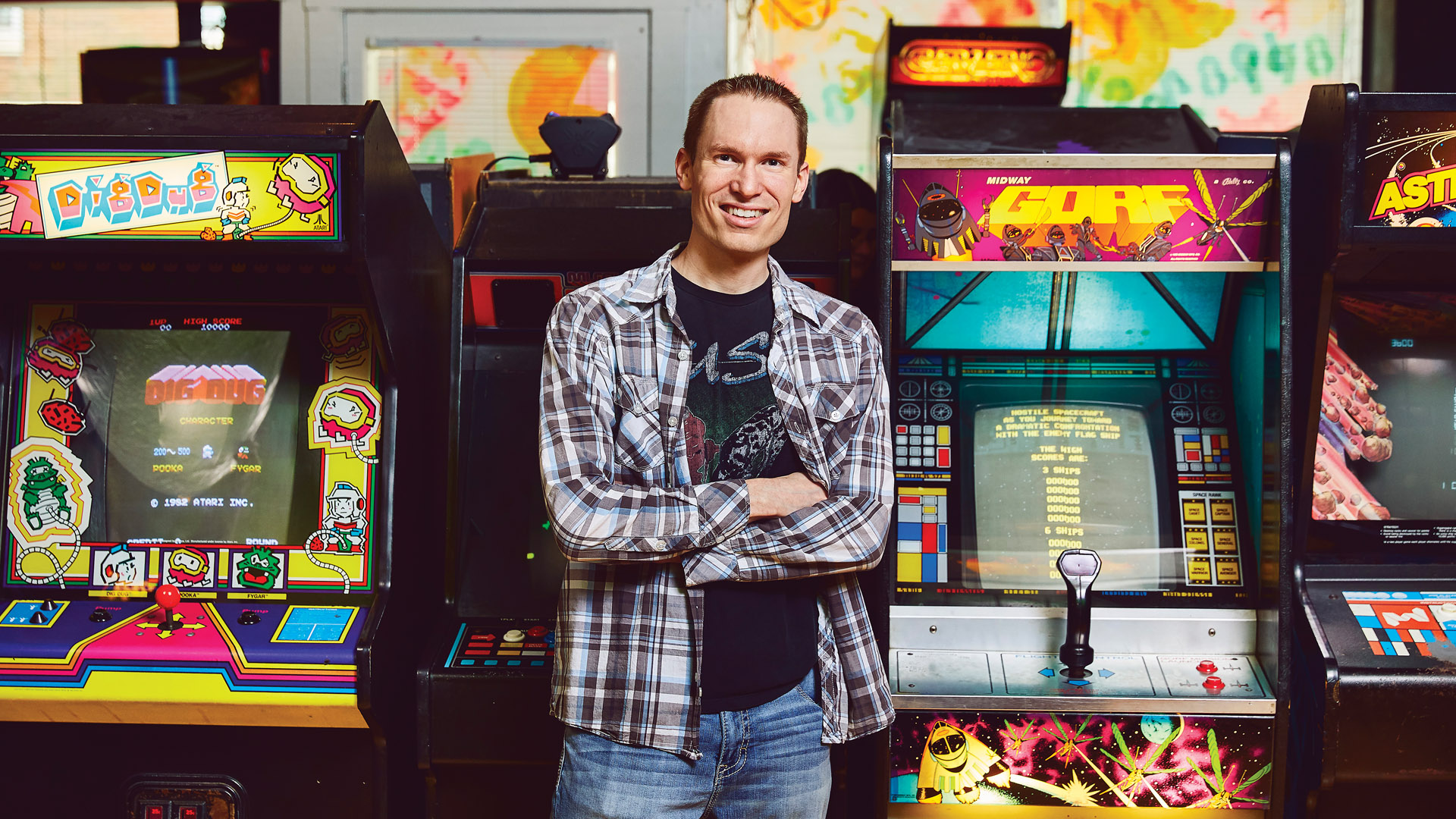 Steven McIver Jr. stands in a 1984 arcade in downtown Springfield, Missouri.