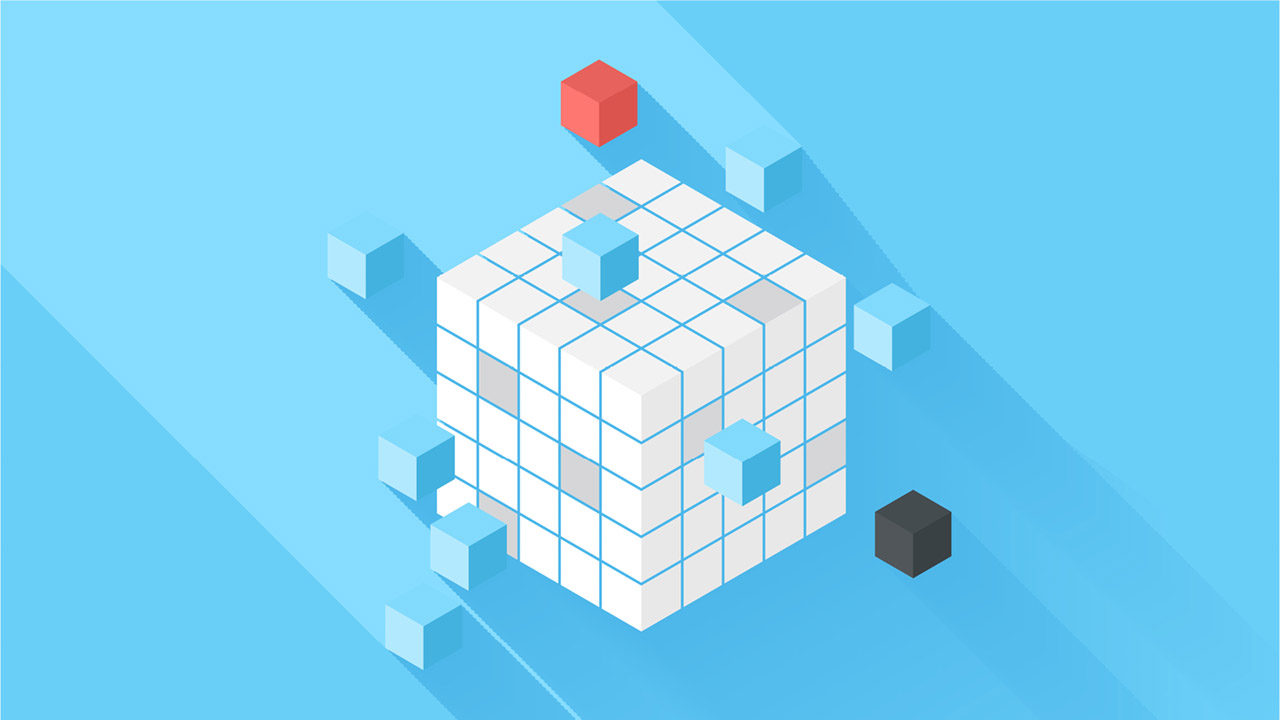 image of block cube on a blue background.