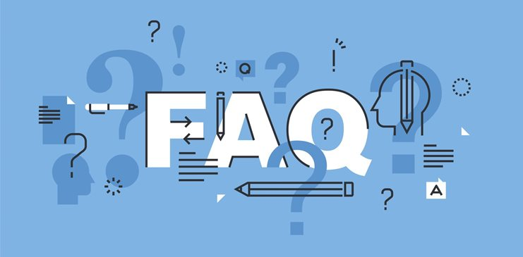 "Animated ""FAQ"" in white typography against a blue background."