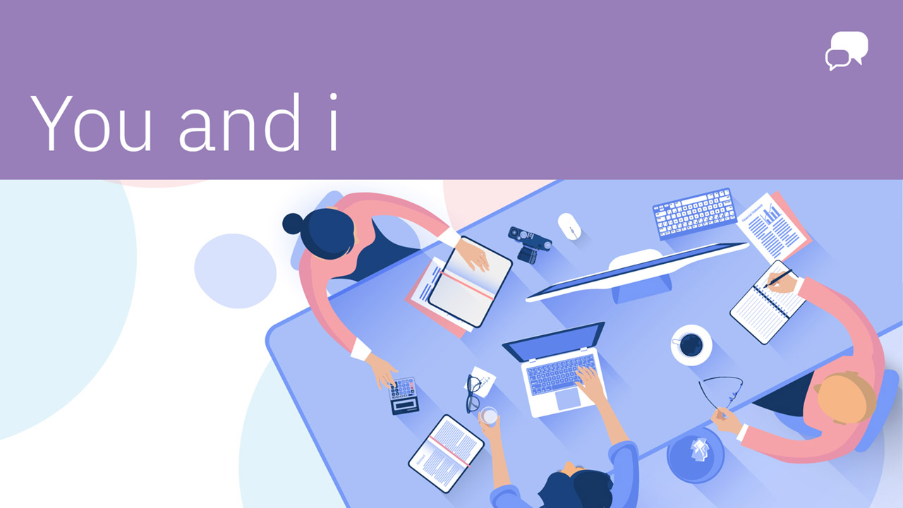 You and i blog on a purple bar with an isometric illustration of people around a table.