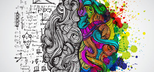 Sketched out brain half black and white, half colorful