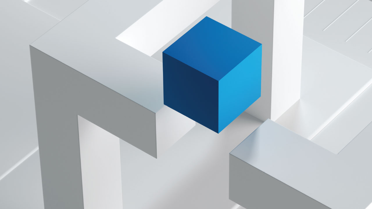 Illustration of a blue cube against a white textured background.