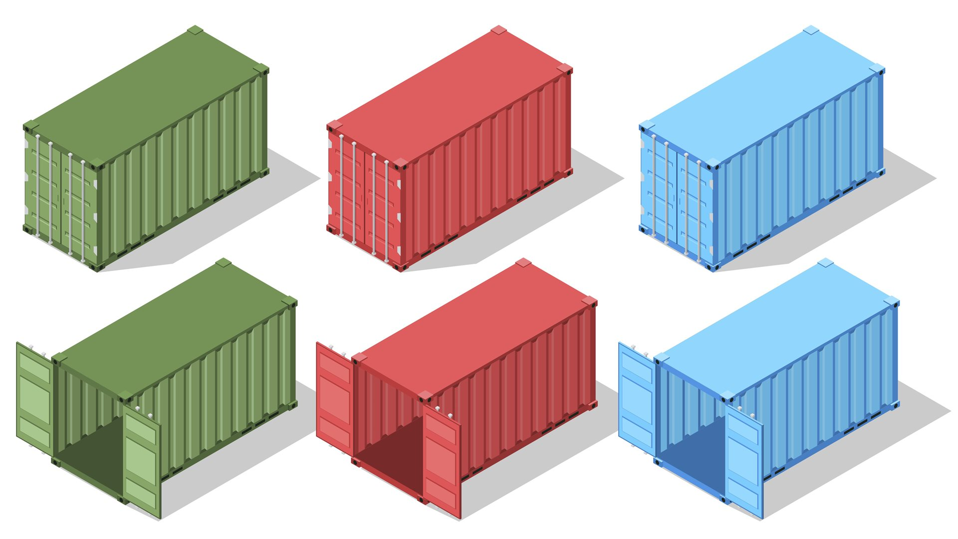 Colorful shipping containers against a white background.