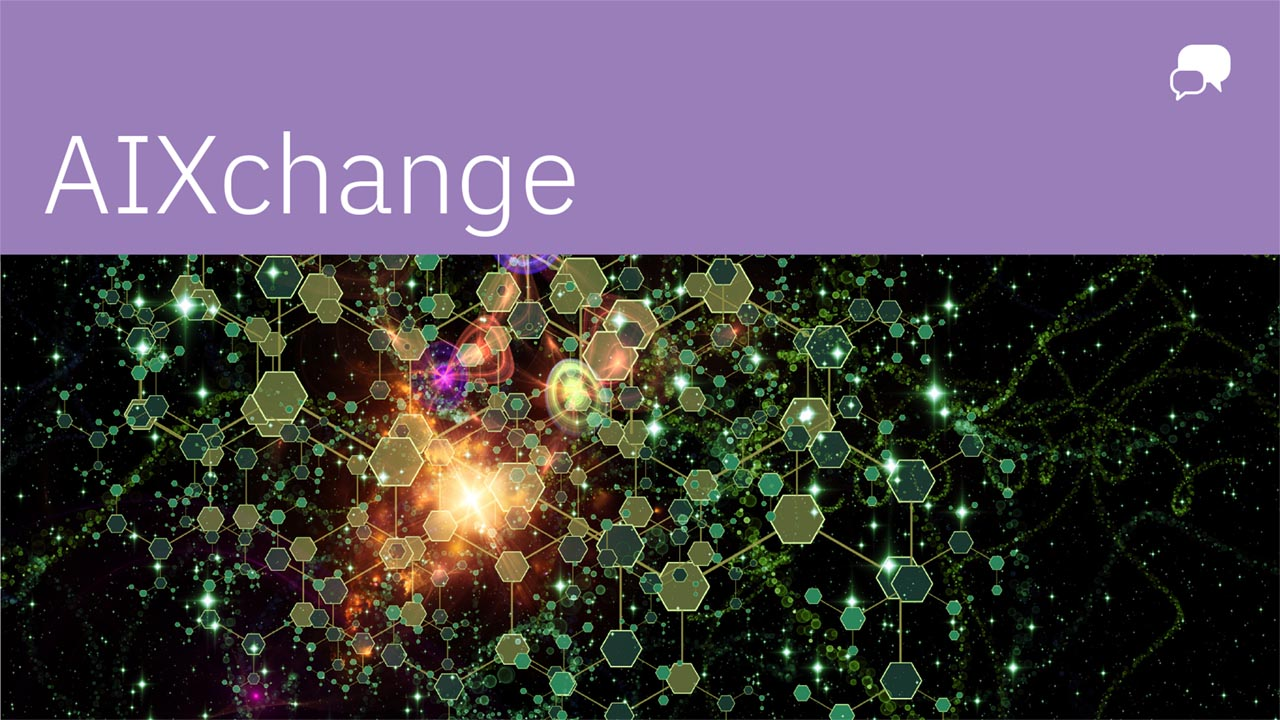 """AIXchange"" in white against a purple banner, white chat bubble in righthand corner, with black and green technological texture below."