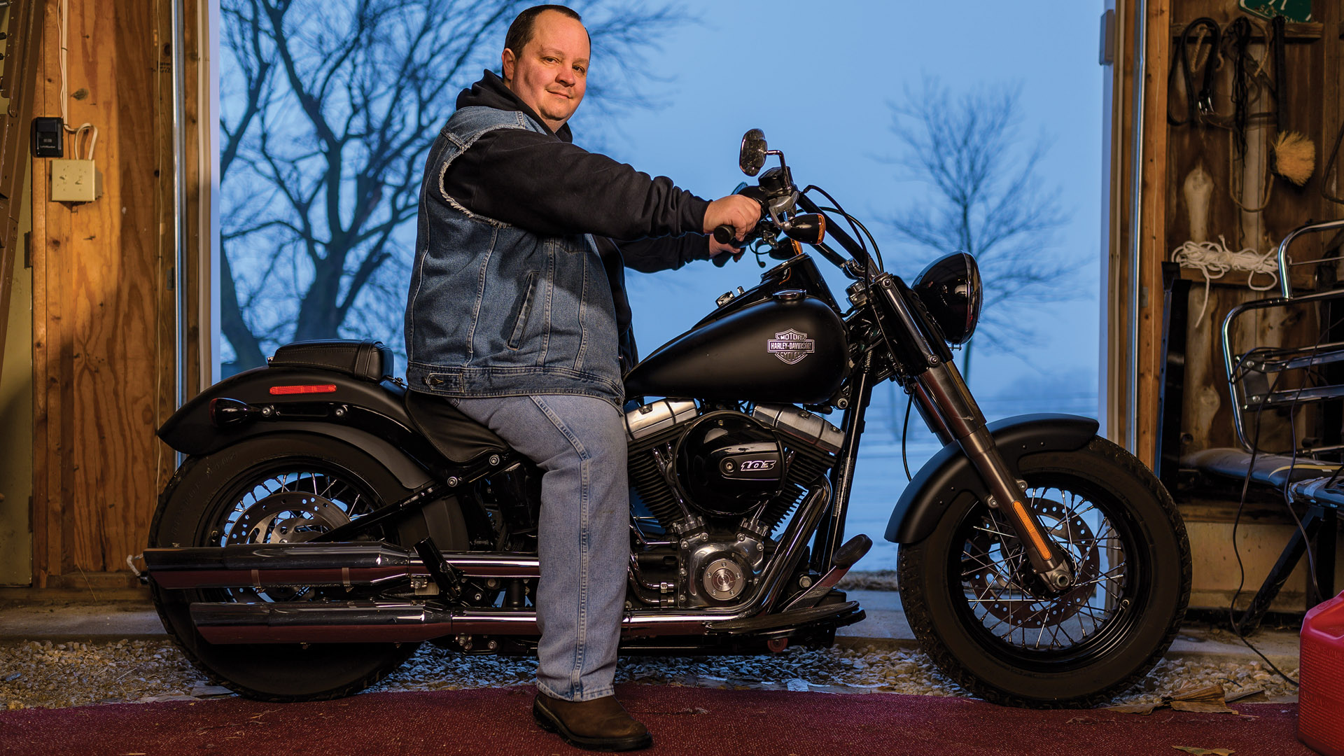 Photo of Leigh Wade, UNIX Administrator, Stormont Vail Health, on his motorcycle.