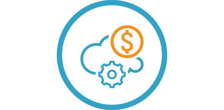 Illustration with a cloud, dollar sign and gear inside a circle