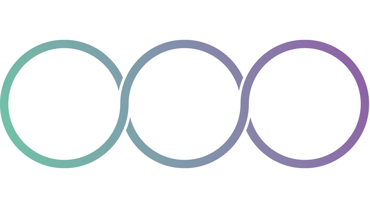 Three interlocking loops in blue and purple gradients.