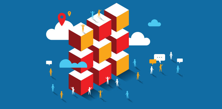 9 red, white and yellow cubes stacked, with clouds and the background and figures gathered around.