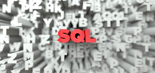 3D red letters in the center spell SQL. They're surrounded by grey 3D letters in randomized patterns.