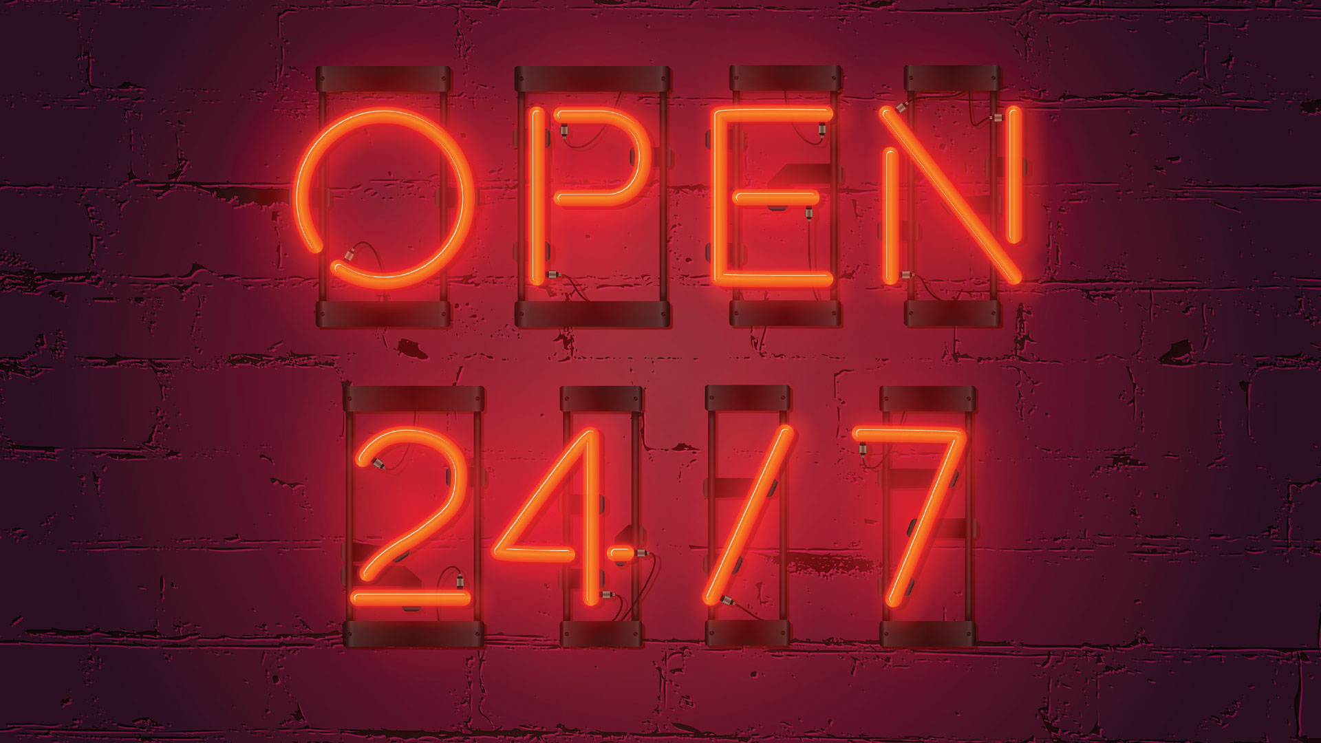 """Open 24/7"" illuminated in red fluorescent letters"