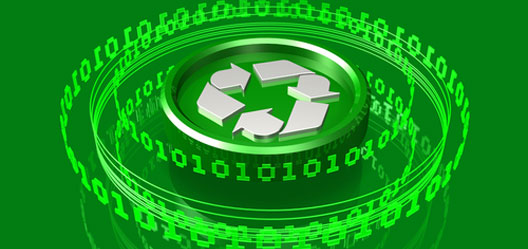 A white recycling symbol lies in the middle of green circular tubes and coding numbers.