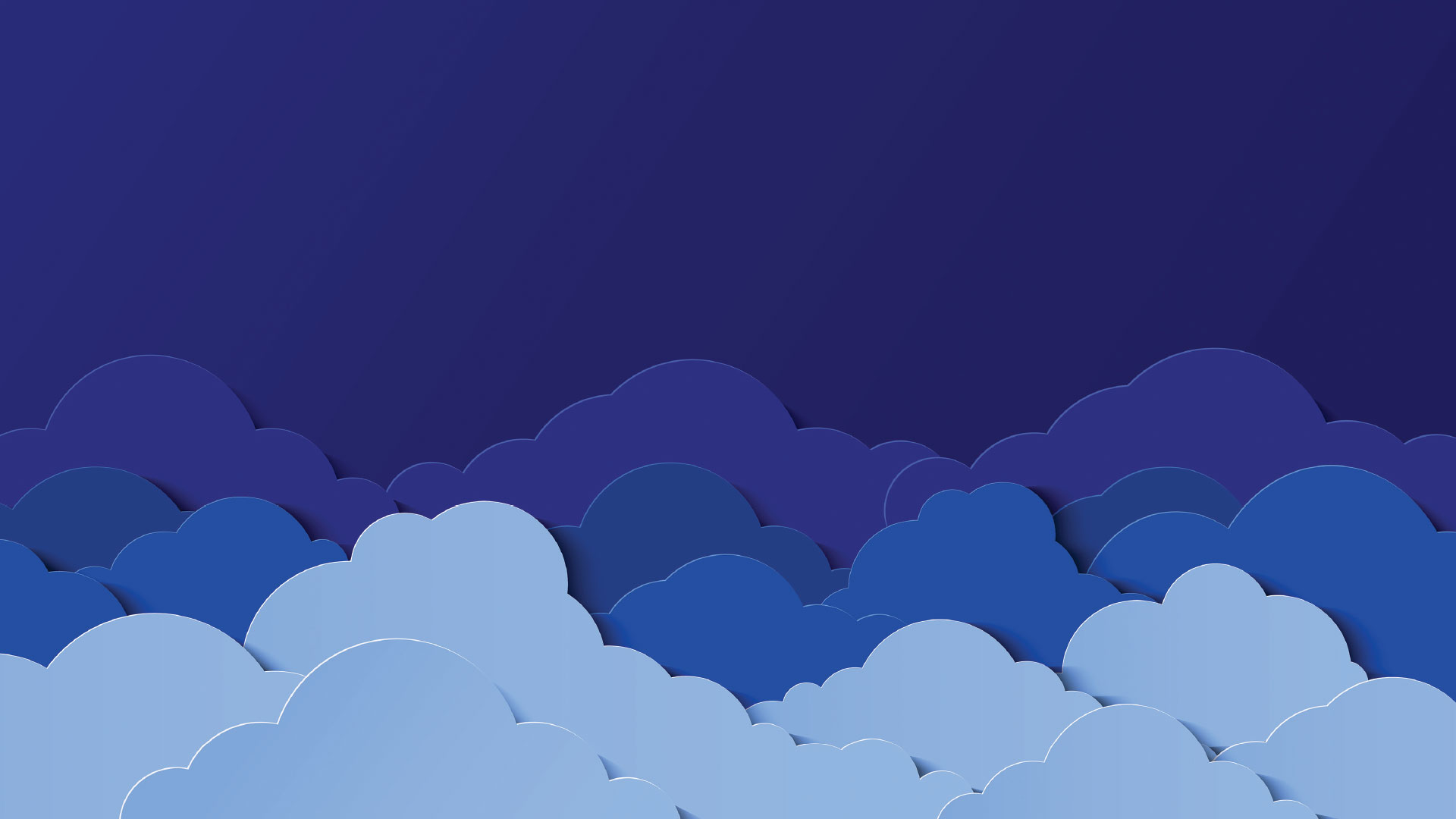 Cutouts of clouds in light blue against a dark blue background