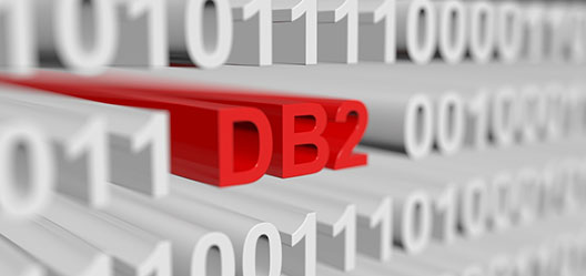 3D letters spelling 'DB2' in red are in the center of the screen, surrounded by 3D ones and zeroes.