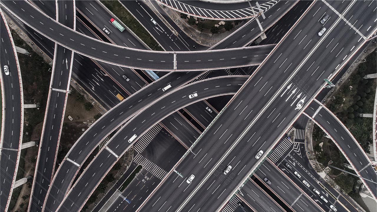 Ariel image of a highway interchange.