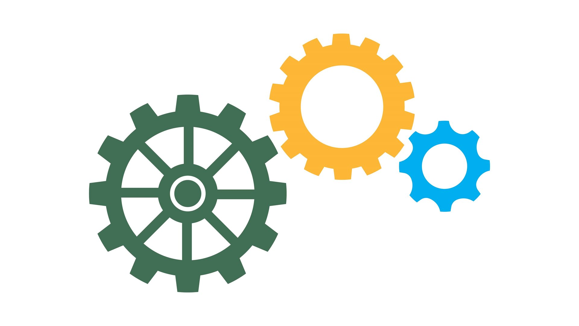 Green, yellow and blue gears against a white background