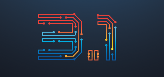 """3.1"" is illustrated using red and blue lines on a dark blue background."