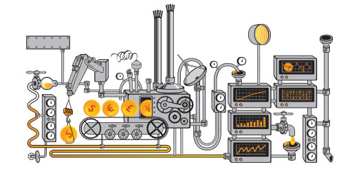 An illustration shows coins entering a machine.
