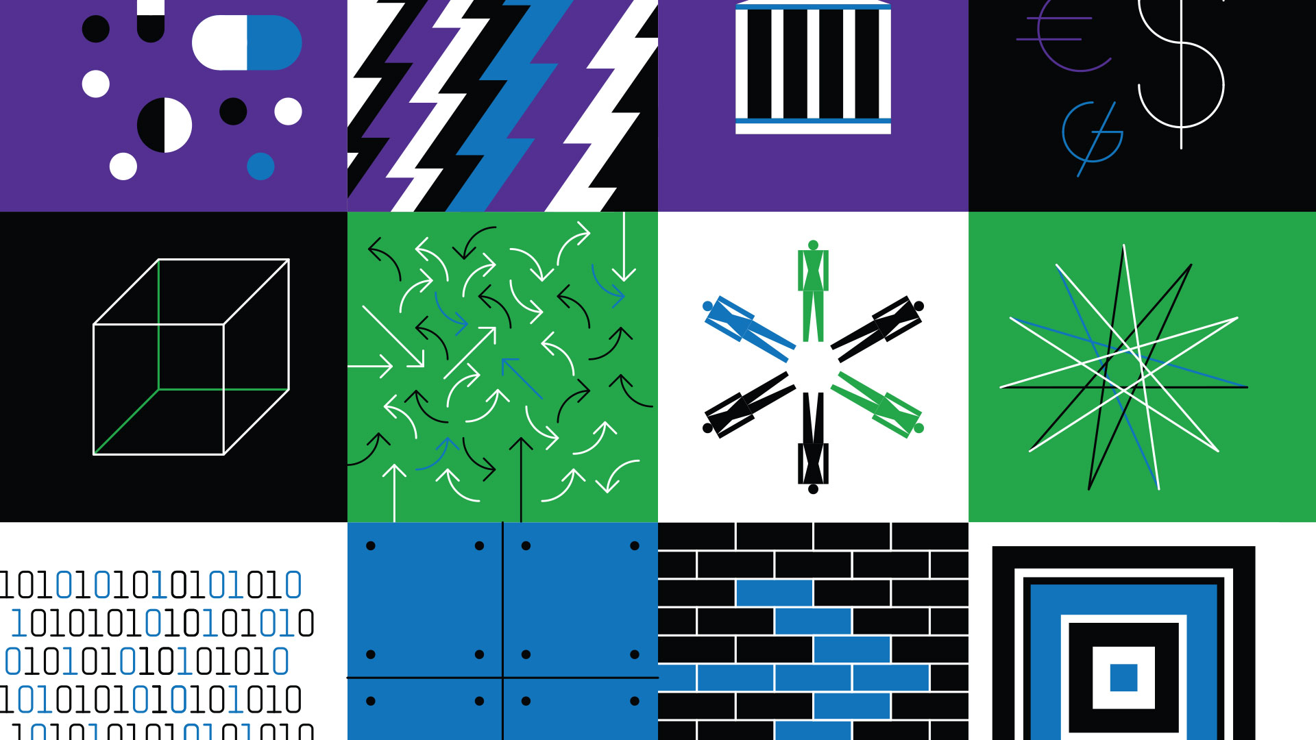 Blue, green, black and purple icons depicting data moving.